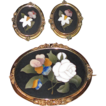 Victorian Pietra Dura Large Brooch and Earrings