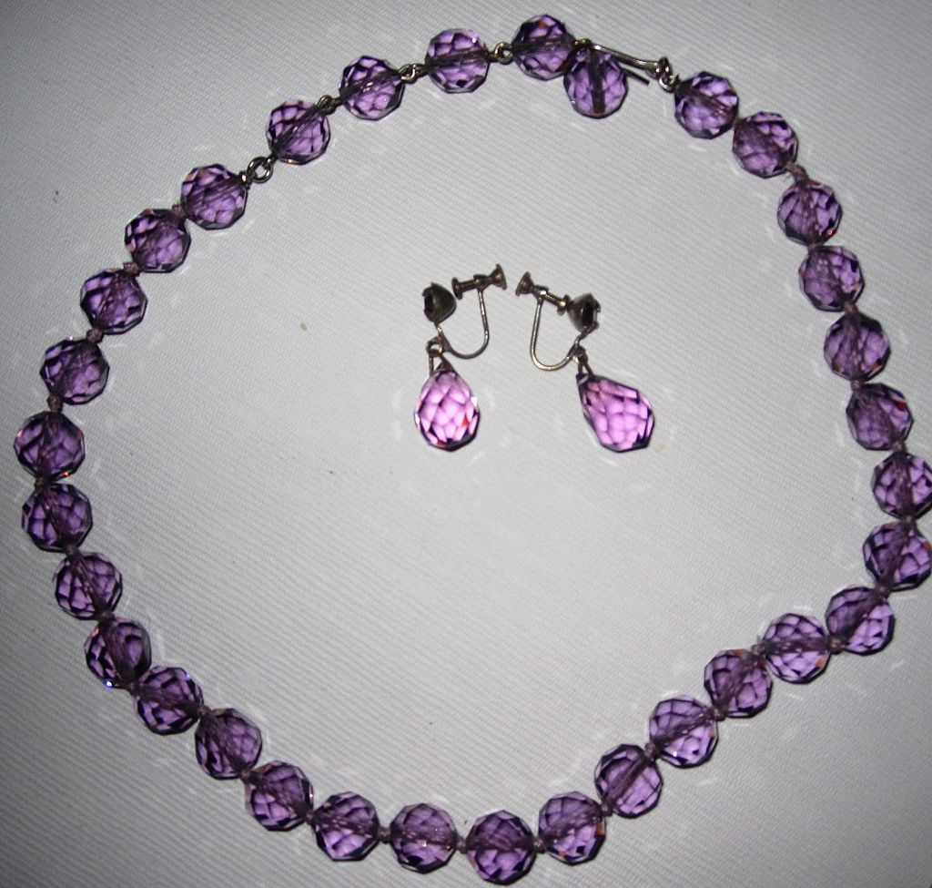 Vintage Purple Cut Glass Beads Matching Earrings