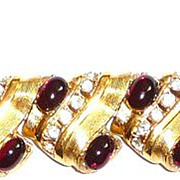 Chunky Vintage Rhinestone Bracelet Red