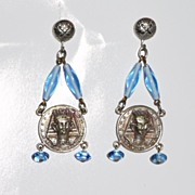 Egyptian Revival Art Deco Drop Earrings
