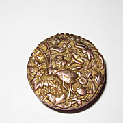 Antique Collar Button Japan Design Mixed Metals Grasshopper