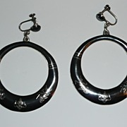 Huge Siam Sterling Nielloware Earrings 3 Inches long