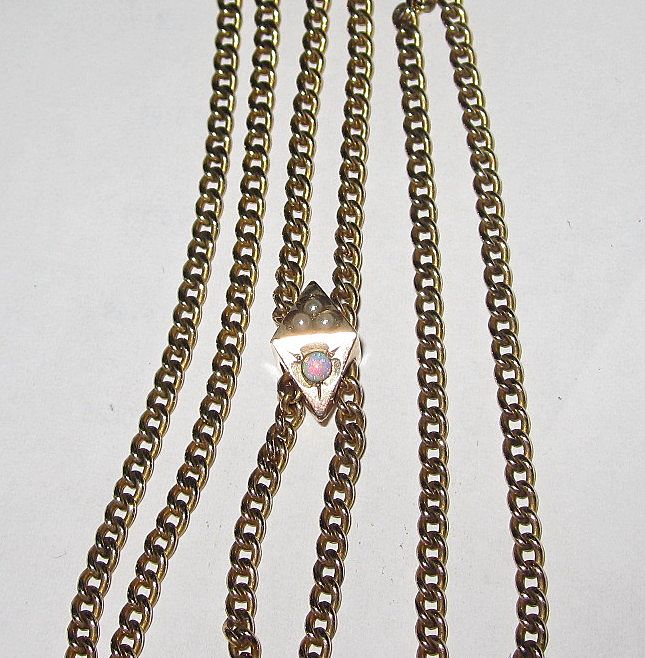 Victorian Slide Chain Pearls Opal