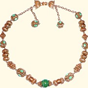 Vintage Vendome Green Ornate Necklace