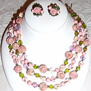 Perfect for Wedding! Vintage Vendome Necklace Roses Demi Parure