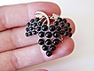 Victorian Rosegold Black Grapes Pin