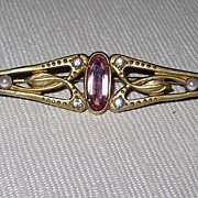 Victorian Bar Pin Pink Glass Stone