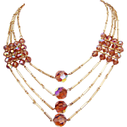 Vintage Golden Topaz Crystal Necklace