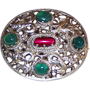 Vintage Silver Chrysoprase Brooch