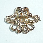 Art Nouveau Gold Pearl Watch Pin