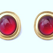 Yves Saint Laurent Bold Clip Earrings Red