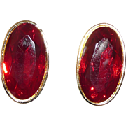Yves Saint Laurent Bold Pierced Earrings Red Glass