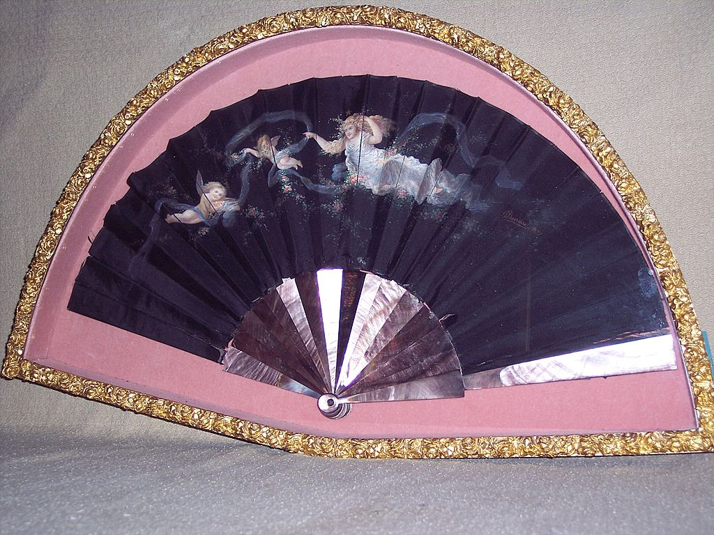 Antique 19th Century Victorian Hand Fan - Signed
