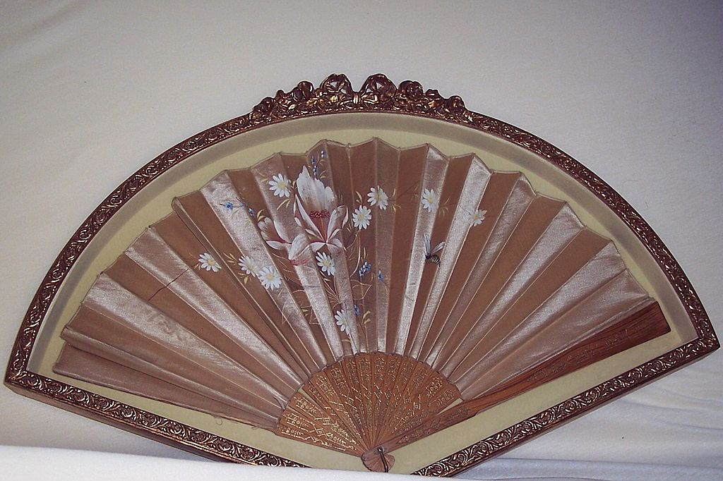 Antique 19 Century Hand Fan with Case