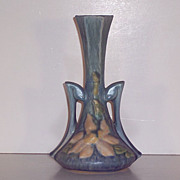 SALE Roseville Pottery  Blue Clematis Bud Vase #187-7