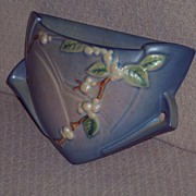 Roseville Pottery - Blue Snowberry Wall Pocket #1WP-8