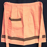 Embroidered Pink Linen Handmade Half Apron
