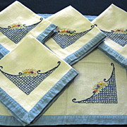 SOLD Five Handmade Embroidered Linen Napkins