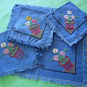 SOLD Four Hand Embroidered Fringed Linen Napkins