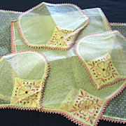 Unused Five Piece Table Runner Dresser Scarf Doily Set