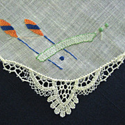 Unusual Embroidered Lace Trimmed Linen Handkerchief