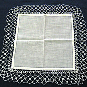 Off White Cotton Handkerchief with Crocheted Trim