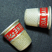 Two Milcoa Margarine Aluminum Thimbles