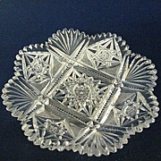 Shallow Round Cut Glass Candy Bowl Bon Bon Dish