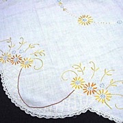 Embroidered Linen Table Topper Crocheted Trim