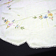 Handmade Embroidered Linen Tablecloth