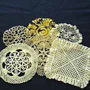 Six Small Coaster Size Assorted Crocheted Tatted Lace Doilies