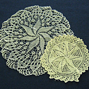 Two Small Pinwheel Design Knitted Doilies