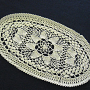 Oval White Floral Design Knitted Doily