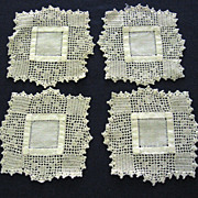 Set of Four Linen with Filet Crocheted Trim Coasters - Small Doilies