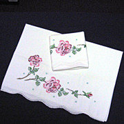 Pair Embroidered Floral Design Pillowcases