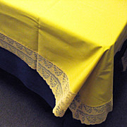 Retro 1970's Gold Lace Trimmed Tablecloth