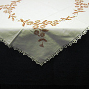 Embroidered Floral Design Tablecloth Crocheted Lace Trim