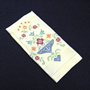 Cross Stitch Embroidered Linen Guest Towel
