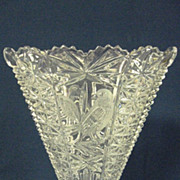 Lead Crystal Hofbauer Footed Fan Shape Vase with Etched Bird