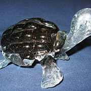 Solid Glass Carmel and Clear Turtle Paperweight