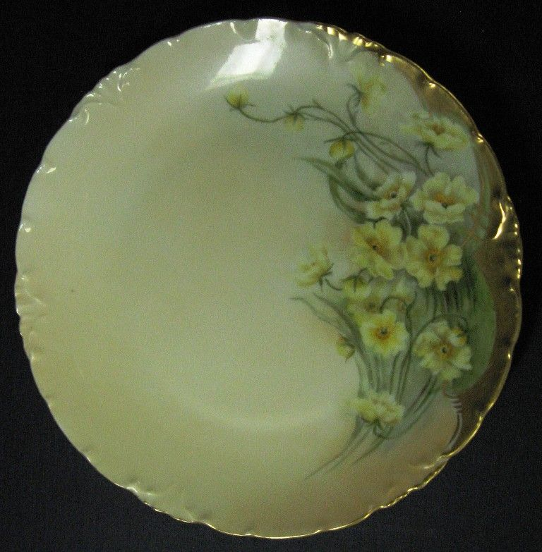 Yellow Floral Hand Painted Rosenthal Small Cabinet Plate