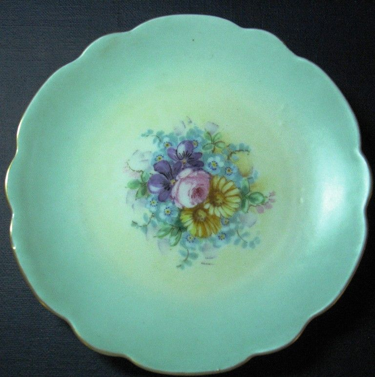 Signed Hand Painted Scalloped Small Cabinet Plate