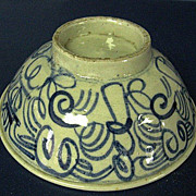 Hand Painted Geometric Design Oriental Asian Pottery Footed Rice Bowl