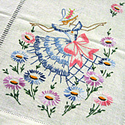 SOLD Embroidered Lady Linen Dresser Scarf
