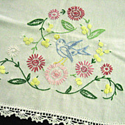 Embroidered Blue Bird Table Runner Dresser Scarf