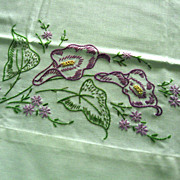 Hand Embroidered Purple Flowers Pillowcase