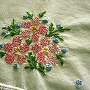 Hand Cross Stitch Embroidered Pink Flowers Pillowcase