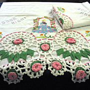Pair of Elaborately Embroidered Pillowcases with Crocheted Trim