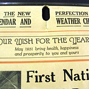 1931 First National Bank of El Paso, Illinois Calendar Weather Chart