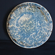REDUCED Blue and White Medium Swirl Graniteware Pudding Pan